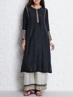 Buy Black Dori & Nakashi Embellished Habutai Silk Kurta SALE! Treasure Hunt Printed Embroidered Apparel in Khadi Wool More Online at Jaypore.com