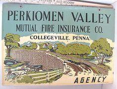 Vintage Porcelain Advertising SIGN Perkiomen Valley Fire Insurance PA Dbl-Sided   ebay