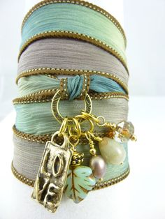 LOVE Silk Wrap Bracelet Boho Silk Wrap by EarthEnergyGemstones, $36.95