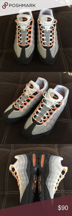 Nike AirMax 95's Excellent Pre-Loved / Condition / Worn Only a Few Times / No Issues  / Gray Black & Orange Nike Shoes Sneakers