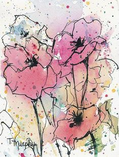 Poppies watercolor and ink by Tracee Murphy.  Swish on the colors, let fully dry, then ink in the details.: