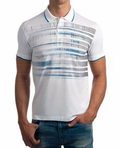 Polos Hugo Boss - Pleecell Blanco Gents T Shirts, Polo T Shirts, Men's Fashion, Golf Fashion, Fashion 2018, Compression Clothing, Check Shirt, Branded T Shirts, Shirt Designs