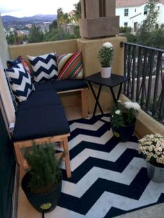 Use small foot stools connect them together. Separate but together searing. Small balcony decor