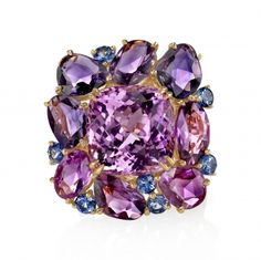 Kunzite, Fancy Sapphire, Sapphire & Diamond Ring
