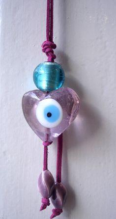 Good luck House charm Pink Heart Lucky Evil Greek by CarolinaHydra, $12.00
