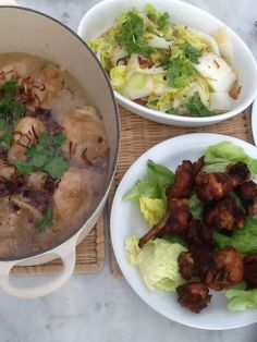Ginger Chicken, nyonya chicken inchikabin and poached Chinese cabbage, served with rice. A typical home meal for three.