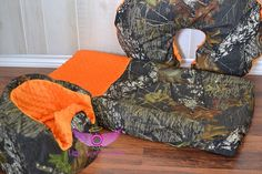 Mossy Oak Camo and Orange Bumbo Cover by LittleAngelsEmporium