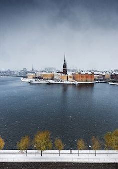 Snow covered Stockholm. Photographer Calle Artmark, available as poster and laminated picture at printler.com, the marketplace for photo art.