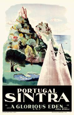 Items similar to Original Vintage Travel Poster Portugal Sintra 1949 on Etsy Retro Poster, Poster Ads, Print Poster, Illustrations Vintage, Illustrations Posters, Vintage Travel Posters, Vintage Postcards, Pub Vintage, Vintage Signs