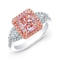 18k White and Rose Gold Pink Diamond Engagement Ring - 18k White and Rose Gold Pink Diamond Engagement Ring #Pink Diamond #Engagement