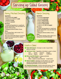 Create a Salad. Food Hero Monthly, Food Hero - Healthy Recipes that are Fast, Fun and Inexpensive. Different ways to make salad! Healthy salad recipes with different ingredients. Food Hero #salad All about salad greens: tips, types, prepare, store, less food waste, kids can and save money. Food Hero Monthly Magazine is available in English and Spanish. #recipes #healthyrecipe #salad #dinner #lunch #kids #toppings Ranch and Honey Mustard Dressing