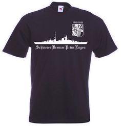 T-Shirt Schwerer Kreuzer Prinz Eugen in der Farbe schwarz mit Emblem. Auf dem T-Shirt ist das berühmte deutsche Kriegsschiff Prinz Eugen abgebildet. / mehr Infos auf: www.Guntia-Militaria-Shop.de