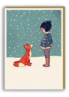 Belle and Boo Hello Mr Fox Christmas Card Sold in 6's