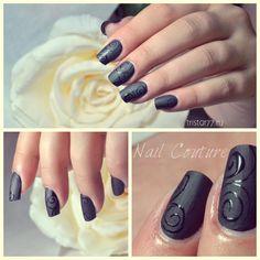 Matte Top Coat by Polish Pro NSI. Matte nails, matte manicure, black matte nail design.