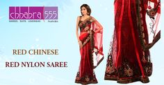 Shop online RED Chinese party wear Nylon Saree @ $303.95 AUD From ‪chhabra555‬ online shop in ‪Australia‬.This saree is best suitable for any occasion.