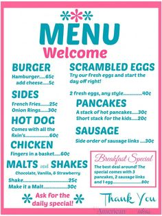 american girl doll crafts American Girl Diner Menus Part 2 American Girl Ideas American Diner, American Girl Crafts, Pink Lady, Ag Dolls, Girl Dolls, Diner Menu, Printable Menu, Printables, Retro Diner