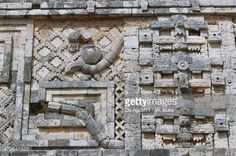 Stock Photo : Stone relief in Nunnery Quadrangle, In Puuc style, Archaeological site of Uxmal (Unesco World Heritage List, 1996), Yucatan, Mexico, Mayan, 900-1000 AD