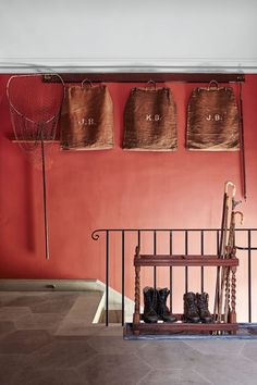 Warm and earthy Red, (Farrow & Ball, Picture Gallery Red) teamed with rustic accessories, what a gorgeous and inviting country hallway Hallway Colour Schemes, Hallway Colours, Room Colors, Farrow And Ball Paint, Farrow Ball, Red Interiors, Beautiful Interiors, Country Hallway, Hallway Paint