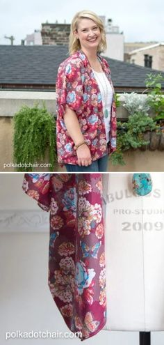 Jacket Kimono Pattern  Kimonos have been trending for a couple of seasons now and they are definitely not going anywhere anytime soon! If you want to join the fabulous crowd of kimono-lovers, follow the instructions by Polka Dot Chair.  #sewingpattern #sewingprojects #sewingcrafts #sewingtutorials #sewingkimono #summersewing Sewing Tutorials, Sewing Crafts, Sewing Projects, Sewing Patterns, Polka Dot Chair, Kimono Pattern, Crowd, Free Pattern, Kimono Top