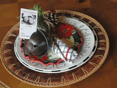 Jingle Bells: RMS user dianneh stacked several patterned plates for individualized holiday table settings. An oversized bell holds the personalized name cards for each guest.