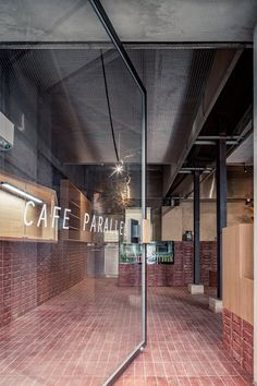 parallel café in central beijing is clad with red bricks, by temp Brick Restaurant, Outdoor Restaurant, Restaurant Design, Brick Interior, Cafe Interior, Interior Office, Pharmacy Design, Retail Design, Dark Interiors