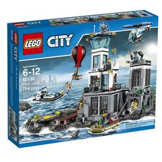 Put the crooks away on LEGO Citys Prison Island, featuring a 2-level prison structure with jail yard, police office, helipad with helicopter, jail cell and sewer escape routes with breakout functions, dock and boats for the police and escaping crooks, hot air balloon, plus a shark and other accessory elements. Includes 8 Minifigures: a male police officer, female police officer, police chief, police pilot, 3 male crooks and a female crook.