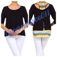 Duo-Print Layered Blouse ❇️Bundle to save 15%❇️ Scoop neck Hi-lo hem Roll-up sleeves with gold button detail The first layer is black, and the under-layer is black, yellow, teal, and white. Available in sizes S, M, L, XL  Made in the USA  Size recommendations: S (4-6); M (8-10); XL (16-18) CC Boutique  Tops Blouses