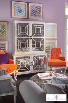 lavender + orange + white (John Richard furniture)