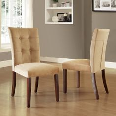 Colyton Almond Brown Tufted Microsuede Side Chairs (Set of 2)   Overstock.com Shopping - The Best Deals on Dining Chairs