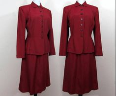 Burgundy Rayon Suit from Weathervane by Handmacher  1940s