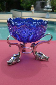 Iridescent Cobalt Blue Carnival Glass Bowl w Silver Koi Base Hobstar Arches | eBay