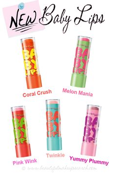 New Baby Lips by Maybelline!! I have coral crush, Melon Mania pink wink, pink wink is like strawberry bubblegum, amazing! Coral Crush is like Orange Izze drink! Twinkle is exactly like Peach Kiss, but still very nice. Melon Mania is like Watermelon and citrus fruit. LOVE them!  Avalible at: CVS, Ulta, Target, Walgreens, Walmart. Leave a comment of where else you have seen them! :0