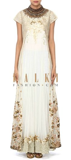 Buy Online from the link below. We ship worldwide (Free Shipping over US$100) Price- $529 Click Anywhere to Tag http://www.kalkifashion.com/white-suit-embellished-in-sequin-and-gotta-lace-only-on-kalki.html