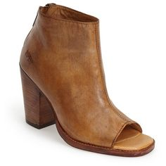 "Bed Stu 'Onset' Peep Toe Bootie, 3 1/2"" heel (€190) ❤ liked on Polyvore featuring shoes, boots, ankle booties, ankle boots, tan driftwood leather, tan ankle boots, high heel booties, high heel boots and bootie boots"