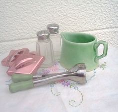 Vintage Kitchen ware Shabby Chic Green Wood by WeeLambieVintage, $12.00
