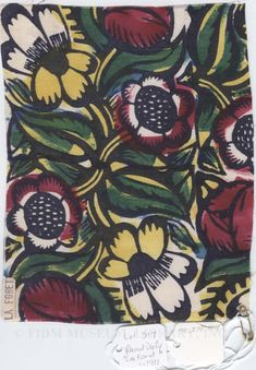 By Raoul Dufy / created in collaboration with designer Paul Poiret  Many of Dufys' designs were monochromatic + in the style of thick lined woodcuts. His most popular work tended towards portraying thick foliage interspersed with birdlife.