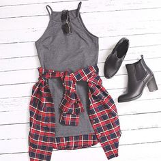 Teen fashion - Grey dress, flannel shirt & chelsea boots.