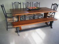 #rusticwood #reclaimedwood #reclaimedwoodfurniture #diningtable #reclaimedwoodtable #trestletable #oldbarnwood #barnwoodfurniture #banquette #banquettetable #farmtables