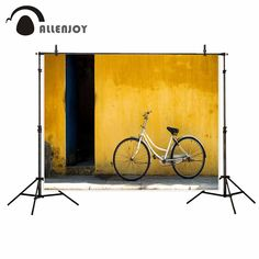 Allenjoy Yellow wall bicycle street sunshine photo backdrop decorations for home fund photo studio backdrop