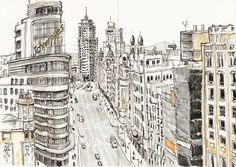 Skyline of the historical center of Madrid from terrace of The Hat Hostel. Art Print – limited edition of 30 Signed and numbered by Ana Rojo. Madrid Skyline, Skyline Art, Best Hotels In Madrid, Madrid Travel, Urban Sketchers, Birds Eye View, Travel Posters, Pretty Pictures, Graphic Illustration