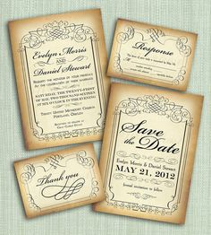 Printable Vintage Style Wedding Invitation by firstfrostdesigns, $35.00