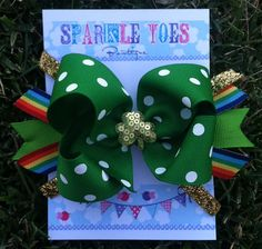 St. Patricks Day Bow LUCKY bow Shamrock bow by SparkleToes3, $7.50