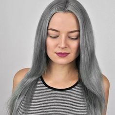 Silver Ombre Hair Dye Tutorial with oVertone Grey Hair With Purple Highlights, Purple Grey Hair, Silver Ombre Hair, Dyed Hair Ombre, Pastel Pink Hair, Bright Red Hair, Dark Red Hair, Gray Hair, Peekaboo Highlights