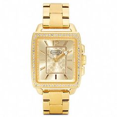 Gifts 200-400: Coach Boyfriend Crystal Square Gold Plated Bracelet