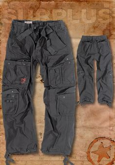 Surplus Airborne Vintage Mens Combat Cargo Pants Army Military Trousers Black | eBay