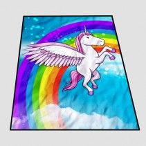 Unicorn Flying Horse Cartoon rainbow Blanket