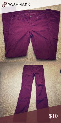 Corduroy jeans SALE! Practically giving them away :-) they're like new. I wore them once .They simply are not my size anymore. The color is a nice burgundy color that goes well with black, brown, etc. They have straight legs, 98% cotton and 2% spandex london jean Jeans Straight Leg