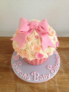 Baby shower giant cupcake cake pink bow by candyscupcakes.co.uk