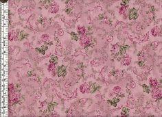 Pink roses & scrolls - Ro Gregg - Victorian Courtship quilting fabric - per fat quarter