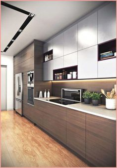 Elegant Straight Kitchen Cabinets Design With Wooden Motifs On The Bottom Cupboard And Plain Gray On The Top Using A Cooktop And Decorated With Beautiful Little Plants Kitchen Design Kitchen Cabinets Design Kitchen Cabinet Design, Kitchen Cupboard Designs, Straight Kitchen, Kitchen Room Design, Kitchen Furniture Design, Cupboard Design, Modern Kitchen Design, Minimalist Kitchen, Classic Kitchen Design